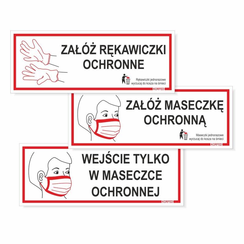 Tabliczki informacyjne nakazu - uwaga koronawirus - załóż rękawiczki ochronne, załóż maseczkę ochronną, wejście tylko w maseczce - zakryj nos i usta przed wejściem, plastikowe plakietki, wodoodprone