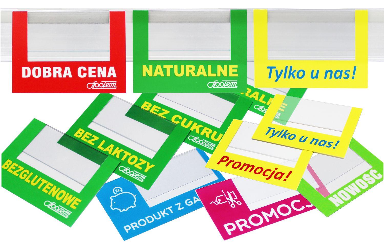 Materiały POS - zawieszki reklamowe, zawieszki na listwy, zatrzymywacze regałowe, stopery półkowe z indywidualną grafiką i logo.