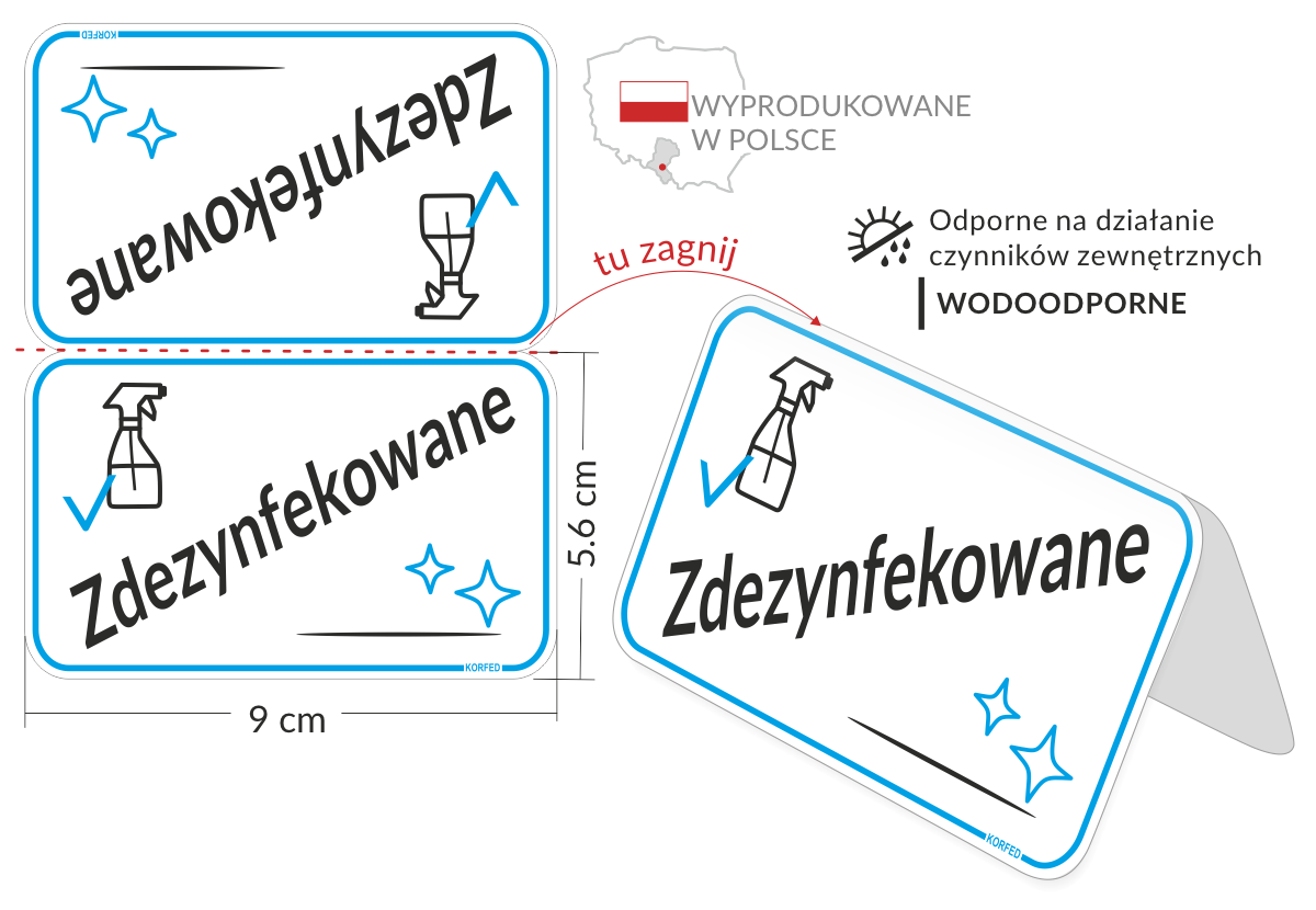 stojaczki i etykiety informacyjne - oznakowanie ZDEZYNFEKOWANE. na blaty, stoliki, stanowiska obsługi i wykonywania usług.