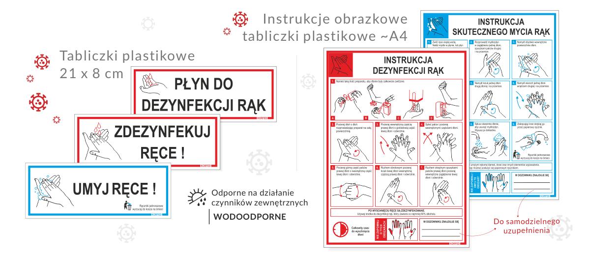 NOWOŚĆ! Instrukcje obrazkowe prawidłowego MYCIA I DEZYNFEKCJI RĄK - tabliczki plastikowe A4, małe plakietki UMYJ - ZDEZYNFEKUJ RĘCE, PŁYN DO DEZYNFEKCJI