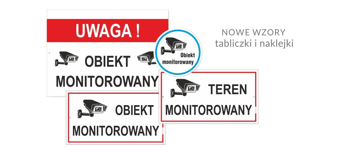 Tablice i etykiety samoprzylepne informujące o monitoringu