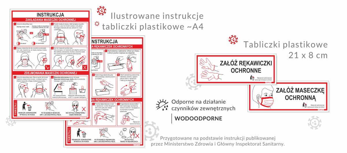 Ilustrowane instrukcje prawidłowego stosowania maseczki i rękawiczek, tabliczki nakazujące stosowania środków ochrony
