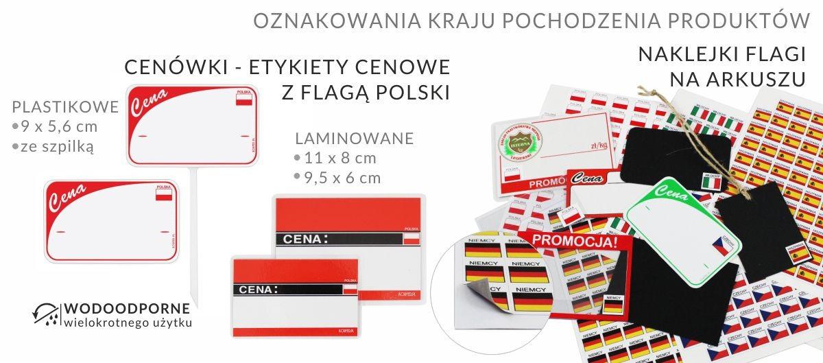 Cenówki laminowane i plastikowe z nadrukowaną flagą Polski, naklepki do przyklejania z flagami państw - oznakowanie kraju pochodzenia produktów