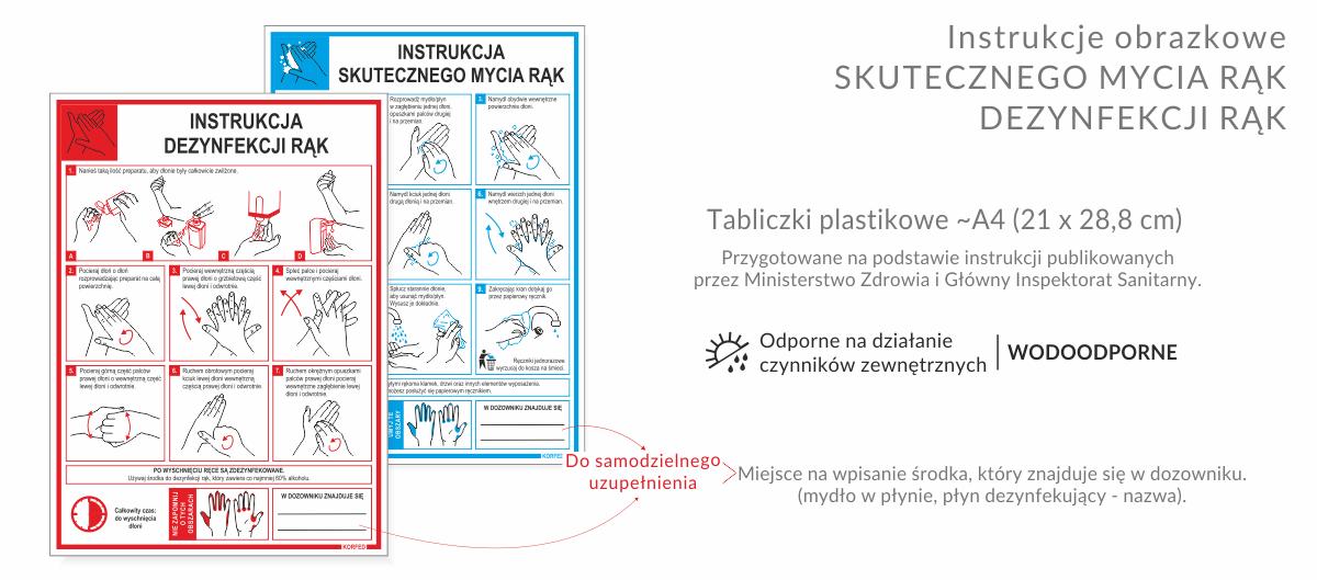 NOWOŚĆ! Instrukcje obrazkowe prawidłowego MYCIA I DEZYNFEKCJI RĄK - tabliczka plastikowa A4