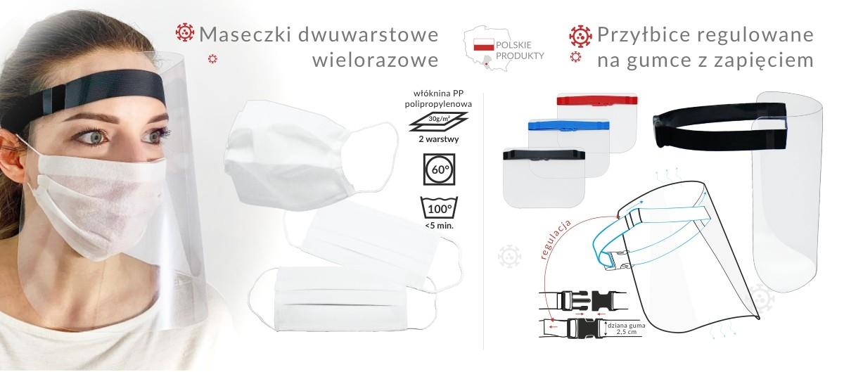 NOWOŚĆ! Maseczki dwuwarstwowe - wielorazowe - nadają się do prania, przyłbice na gumce z zapięciem, regulowane.