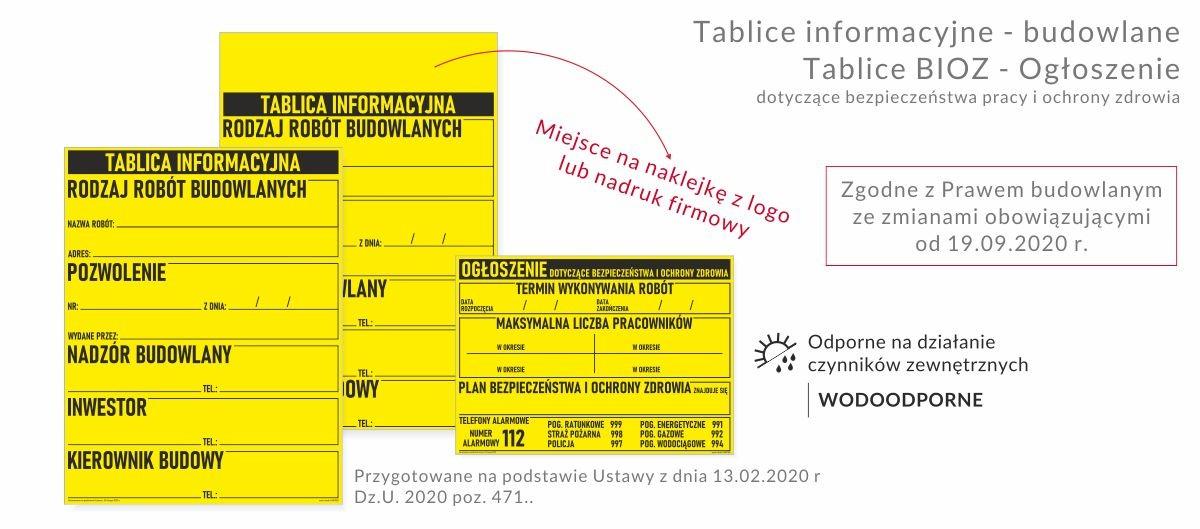NOWOŚĆ - Tablice informacyjne na budowę - ogłoszenie budowlane zgodne z ustawą z 2020 roku.